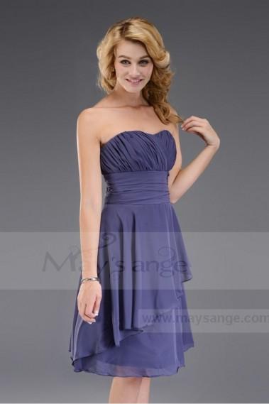 Short strapless evening dress in chiffon C548